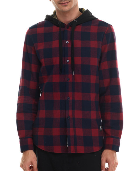 Ur-ID 206949 Ecko - Men Blue Buffalo Plaid Hooded L/S Button-Down