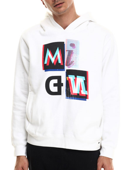 Rocawear Blak - Men White Mindful Pullover Fleece Hoodie
