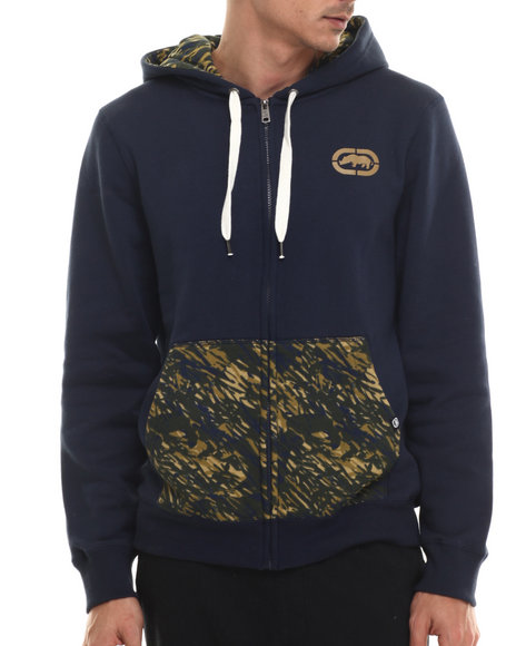 Ur-ID 206960 Ecko - Men Blue Fleece Hoodie W/ Camo Print
