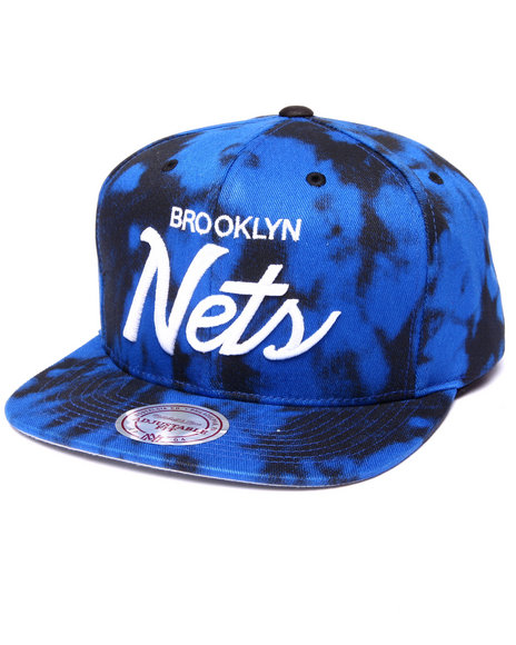Mitchell & Ness - Men Black Brooklyn Nets Classic Script Acid Wash Snapback Hat(Drjays.Com Exclusive)