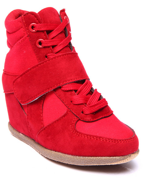 La Galleria - Girls Red Wedge Sneakers (11-4)
