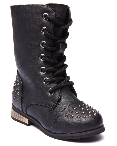La Galleria - Girls Black Abby Studded Boots (5-10)