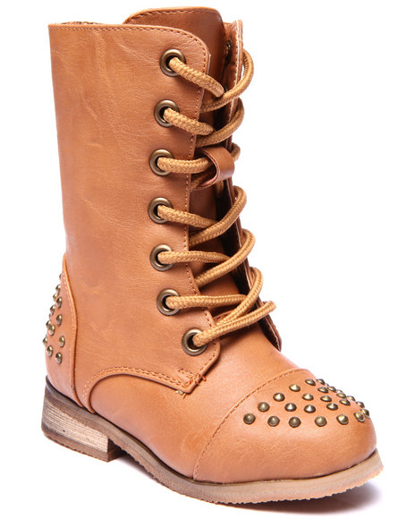 La Galleria - Girls Tan Abby Studded Boots (5-10)