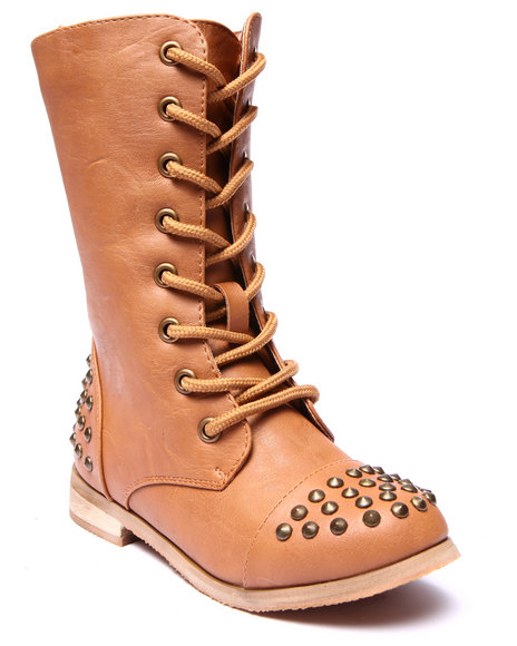 La Galleria - Girls Tan Abby Studded Combat Boots (11-4)