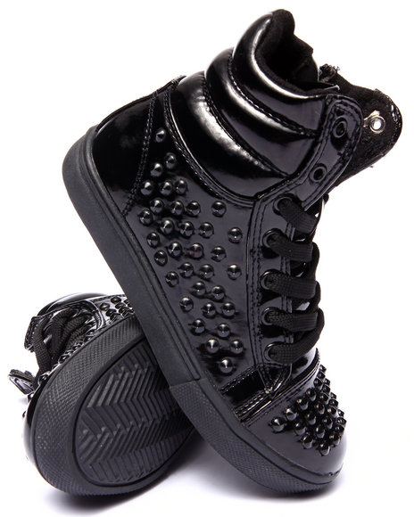 La Galleria - Girls Black Connie Studded Sneakers (11-4)