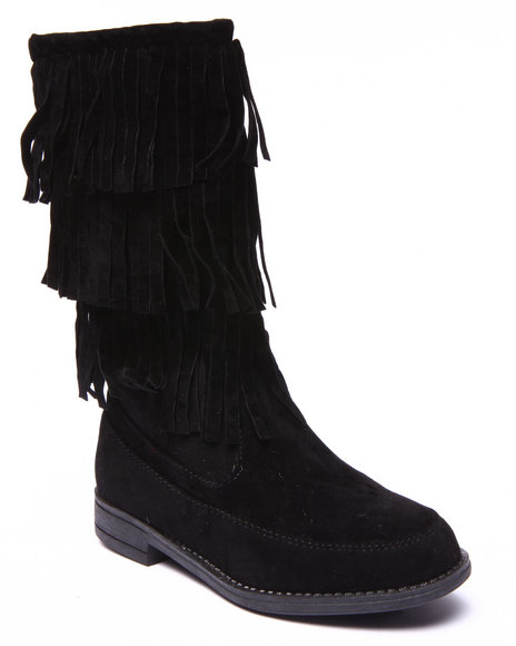 La Galleria - Girls Black Limor Moccasin Boots (11-4)