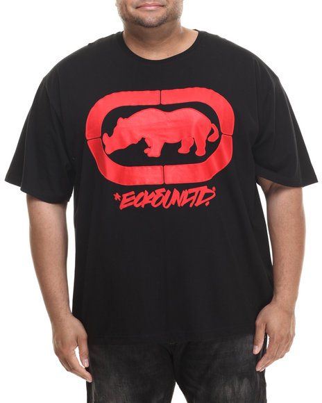 Ecko - Men Black Felt Script Rhino T-Shirt (B&T)