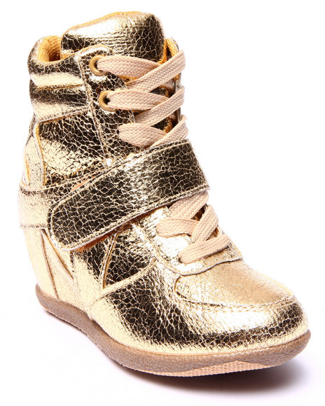 La Galleria - Girls Gold Metallic Wedge Sneakers (11-4)