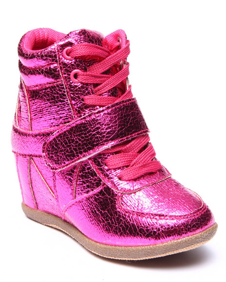 La Galleria - Girls Pink Metallic Wedge Sneakers (11-4)
