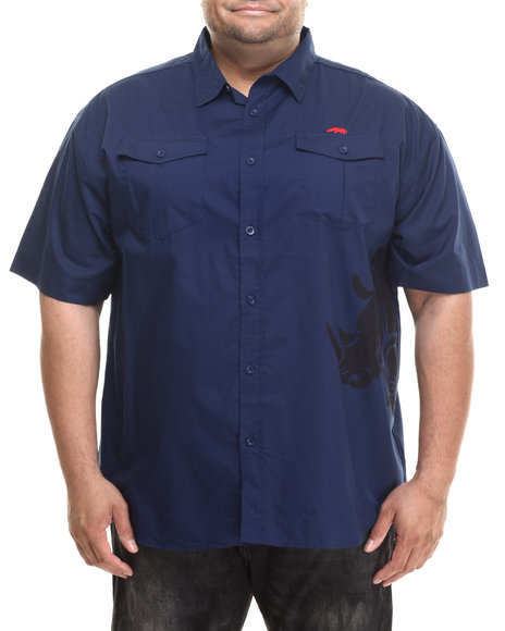 Ecko - Men Navy Tonal Rhino S/S Button-Down (B&T)
