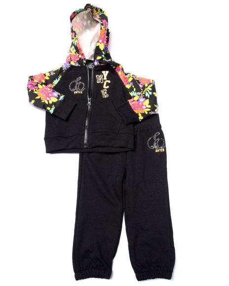 Enyce - Girls Black 2 Pc Floral Fleece Set (2T-4T)