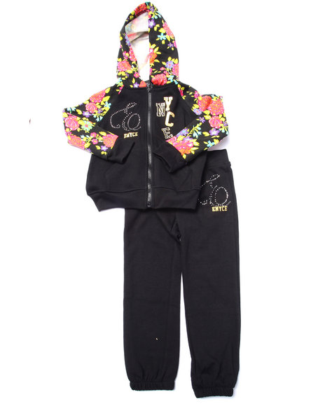 Enyce - Girls Black 2 Pc Floral Fleece Set (4-6X)