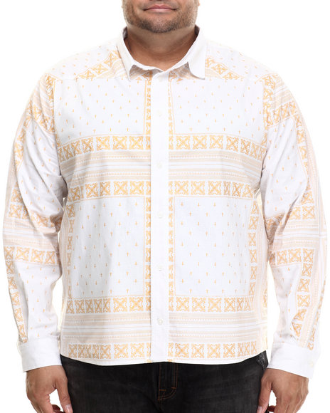 Ur-ID 206976 Eight 732 - Men White Monogram L/S Button-Down (B&T)