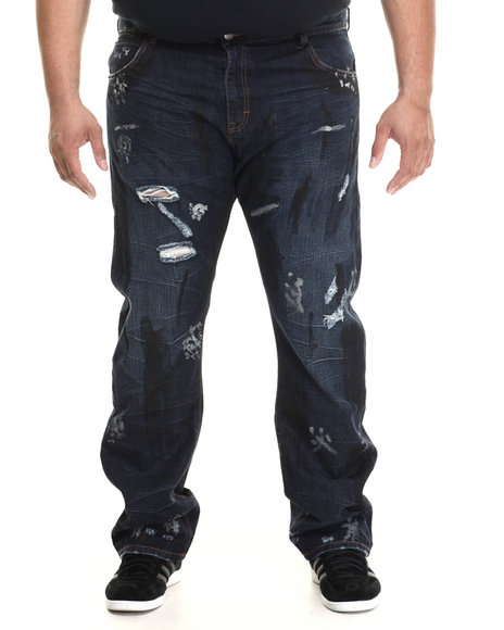 Eight 732 - Men Medium Wash Map Denim Jean (B&T)