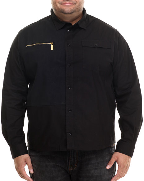 Eight 732 Men Viper L/S Button-Down (B&T) Black 5X
