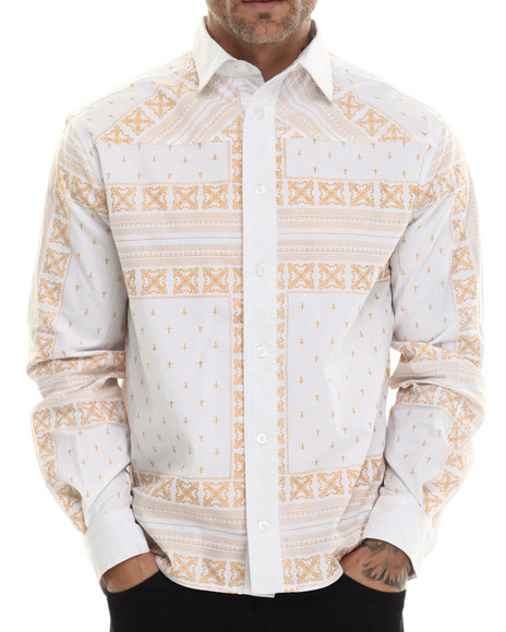Eight 732 - Men White Monogram L/S Button-Down