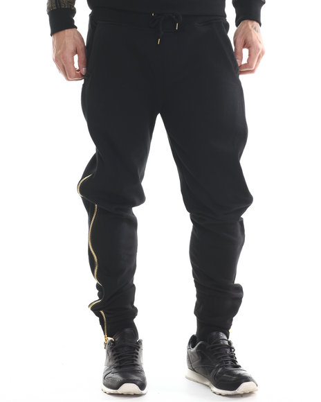 Eight 732 - Men Black Zipped Sweatpant