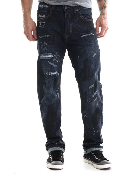 Eight 732 - Men Medium Wash Map Denim Jean