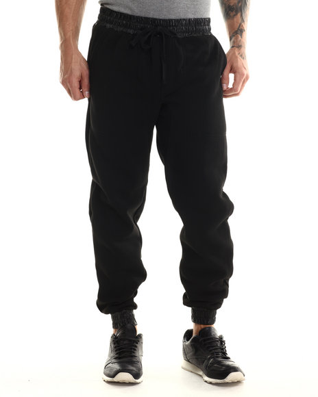 Buyers Picks - Men Black Fleece Jogger With Faux Leather Cuff Detai