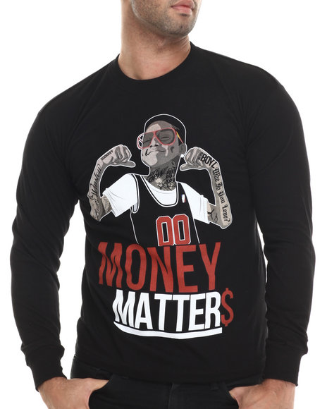 Buyers Picks - Men Black Money Matters L/S Tee