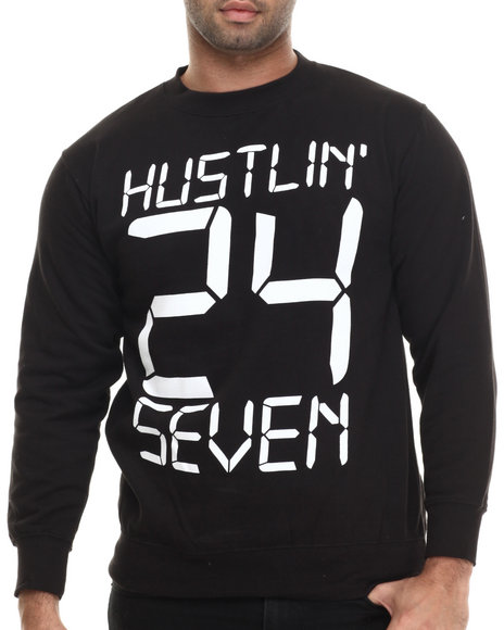 Ur-ID 207114 Buyers Picks - Men Black Hustlin' 24-7 Crewneck Sweatshirt