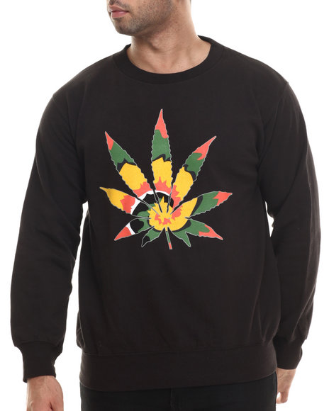 Buyers Picks - Men Black Tie Dye High Crewneck Sweatshirt