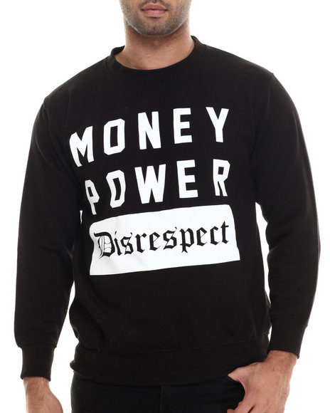 Buyers Picks - Men Black Money Power Disrespect Crewneck Sweatshirt