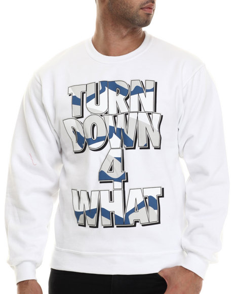 Ur-ID 207076 Buyers Picks - Men White Turn Down For What Crewneck Sweatshirt