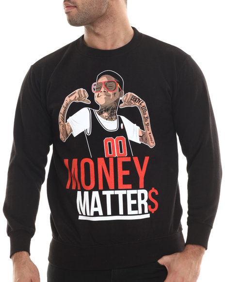 Buyers Picks - Men Black Money Matters Crewneck Sweatshirt
