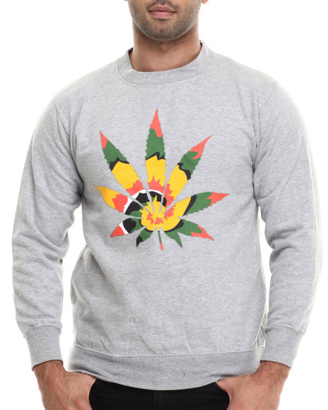 Buyers Picks - Men Grey Tie Dye High Crewneck Sweatshirt