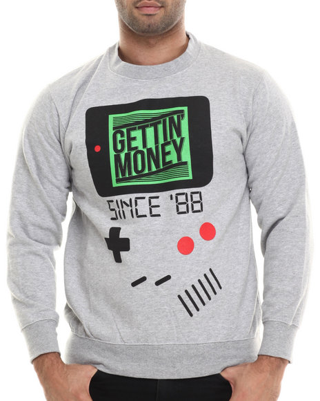Buyers Picks - Men Grey Gettin' Money Since '88 L/S Crewneck Sweatshirt