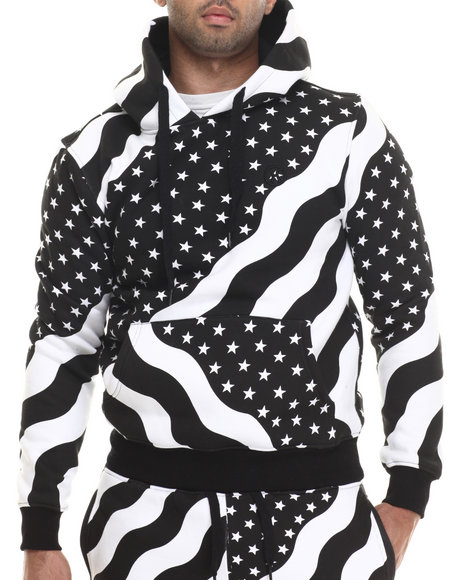 Hudson Nyc - Men Black Stars & Stripes Pullover Hoodie