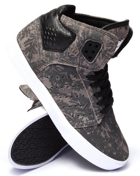 Supra - Men Grey Atom Grey Suede Tonal Leaf Print Sneakers