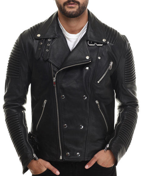 Hudson Nyc - Men Black Hot Shot Genuine Leather Jacket