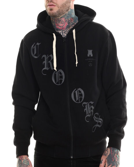 Crooks & Castles - Men Black Criminal Minded Zip Hoodie