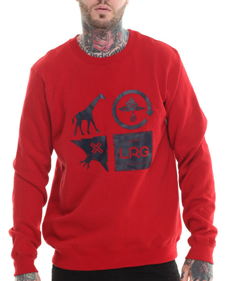 Lrg - Men Red Logo Cluster Crew Sweatshirt - $30.99