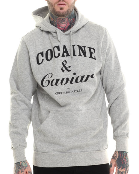 Crooks & Castles - Men Grey Cocaine & Caviar Hoodie