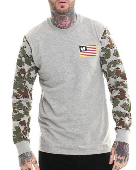 Wu-Tang Limited - Men Camo Iron Flag L/S T-Shirt - $36.99