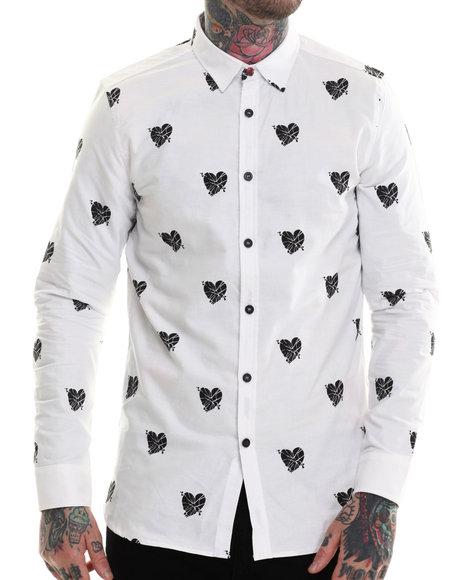 Rocawear Blak - Men White Heartless Printed Oxford L/S Button-Down