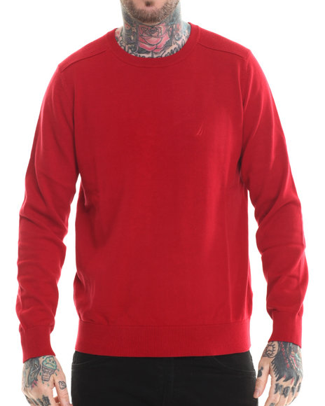 Ur-ID 207206 Nautica - Men Red Rib Shoulder Sweatshirt
