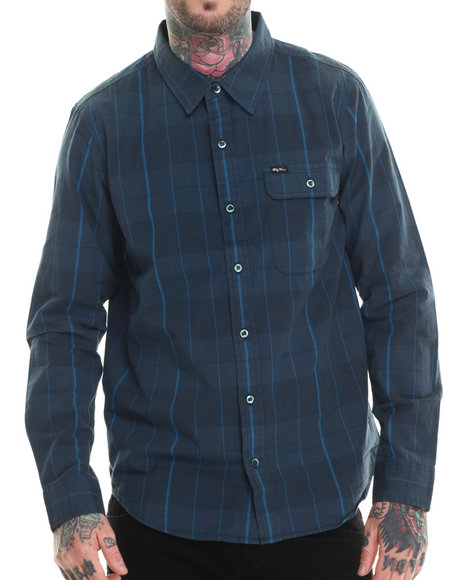 Ur-ID 207214 LRG - Men Blue Research Collection Plaid L/S Button-Down
