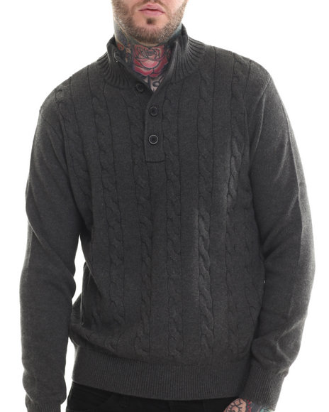 Nautica - Men Charcoal Button Mock Sweater