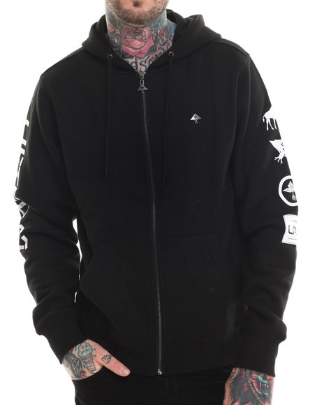 Lrg - Men Black Lifted 47 Zip-Up Hoodie