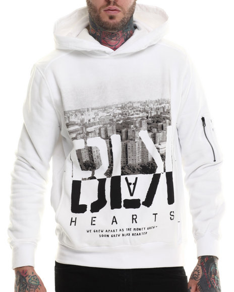 Rocawear Blak - Men White Heartless Pullover Hoodie