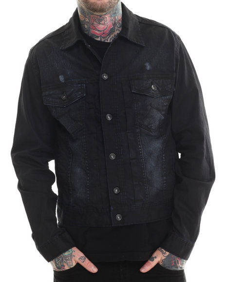 Rocawear - Men Dark Wash Coated Volume Denim Jacket