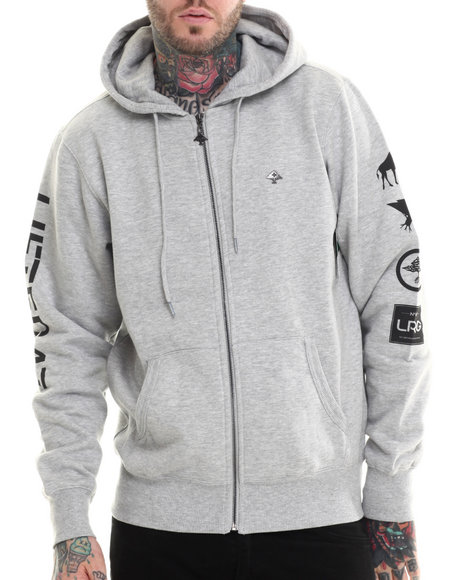 Lrg - Men Grey Lifted 47 Zip-Up Hoodie