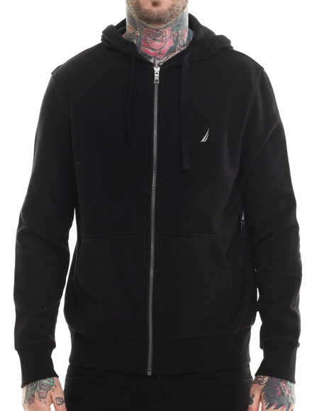 Nautica - Men Black Sueded Fleece Zip Hoodie