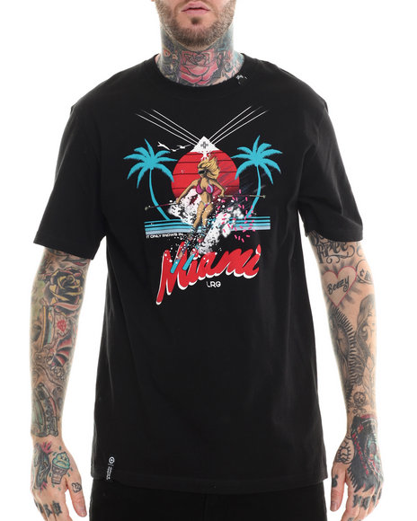 LRG - Men Black It Only Snows In Miami T-Shirt