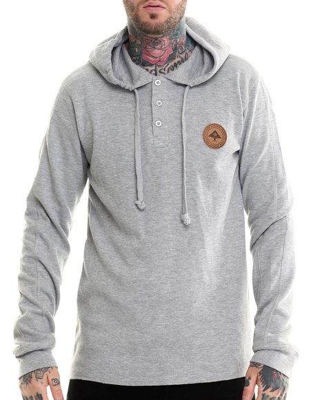 Lrg - Men Grey Research Collection L/S Hooded Henley