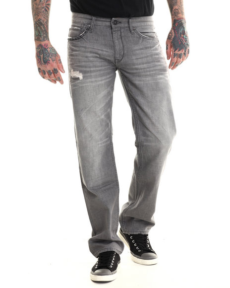 Rocawear Blak - Men Grey Rager Straight Fit Jeans